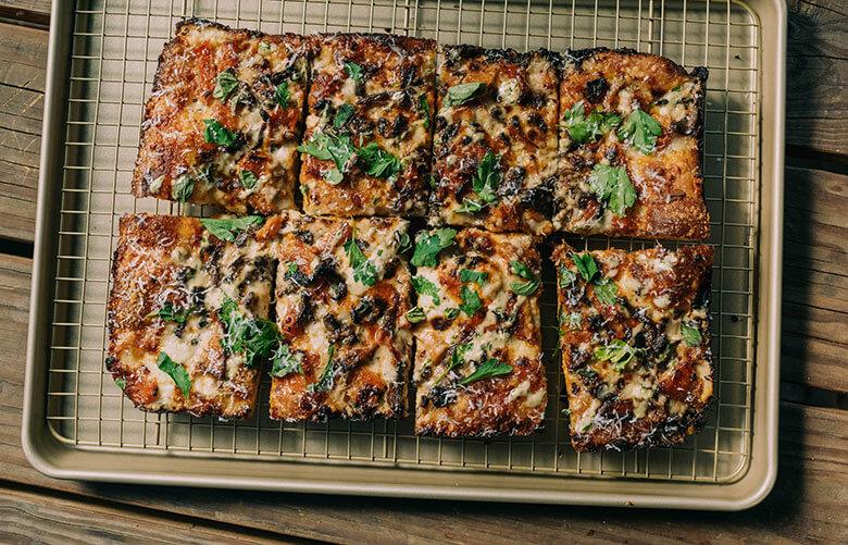 Detroit-style, square pan pizza